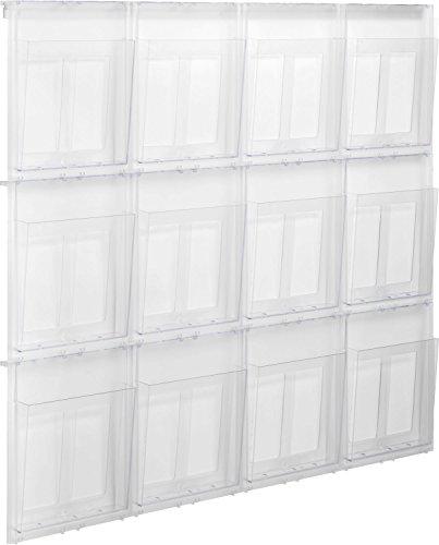 Helit H6811102 Prospekthalter Wandset Placativ, 12 Taschen, DIN A4, hoch, glasklar