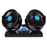Ventilatore 12 Volt Doppia Testa Ventola di Raffreddamento avec Accendisigari Auto, Due velocità regolabile e rotazione manuale a 360 gradi.