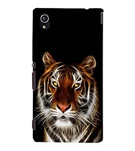printtech Tiger Face Streak Design Back Case Cover for Sony Xperia M4 Aqua::Sony Xperia M4 Aqua Dual