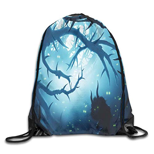 GONIESA Fashion New Drawstring Backpacks Bags Daypacks,Animal with Burning Eyes In The Dark Forest at Night Horror Halloween Illustration,5 Liter Capacity Adjustable for Sport Gym Traveling (Halloween Dark Forest)