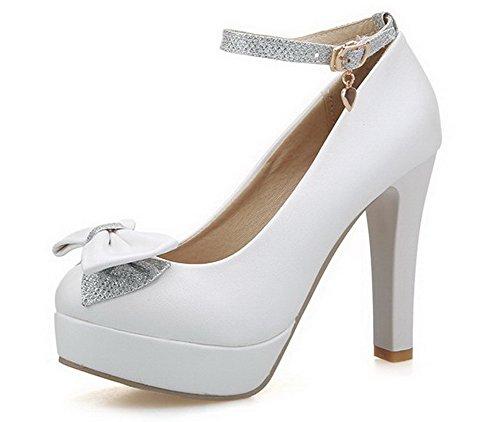 AgooLar Femme Pu Cuir à Talon Haut Rond Couleur Unie Boucle Chaussures Légeres Blanc