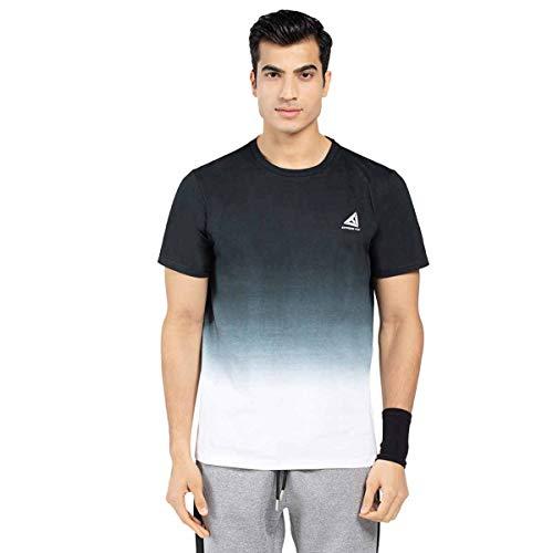 Herren Dip Dye Shirt Herren Baumwolle Kurzarm Dip-Dyed T-Shirts Tops Reflektierender Druck Designer Tee Farben Schwarz und Hellblau (S, Schwarz) -