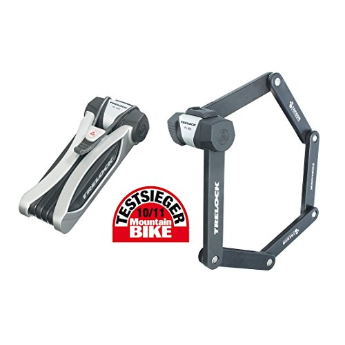 Trelock Faltschloss Dragonline mit HalterFS 455/85 mit Kunststoffhalter silber, schwarz, 4032191721835