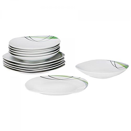 Tafelservice Donna 12tlg. - weißes Porzellan mit Linien- Dekor in schwarz, grau und grün - für 6 Personen - Donna Werfen