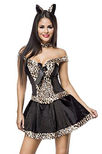 Sexy 3 teiliges Leopardenkostüm Leo Kostüm Leopard Damenkostüm Kleid Tiger Schwarz Damen Karneval Fasching - Sexy 3 Teiliges Kostüm