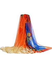 03d00d20ebdd Bigood Foulard Imitation Soie Imprimé Vogue Solaire Châle Écharpe 195 145cm
