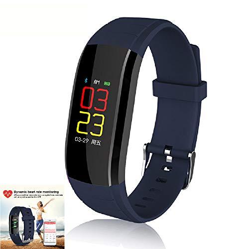 ILYO Fitness-Tracker, Herzfrequenz-Monitor Von Sportupx Color Screen Intelligent Sports Dynamic Heart Rate Blutdruckinformationen Waterproof Armband,Blue