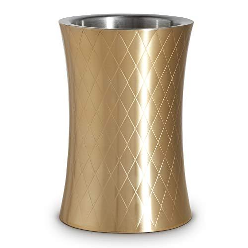VonShef Weinkühler Weinhalter Flaschenkühler aus Edelstahl - Gebürstetes Gold & Doppelwandig