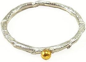 Anello in argento con palla di oro 24 carati - fatto a mano da Silverlounge