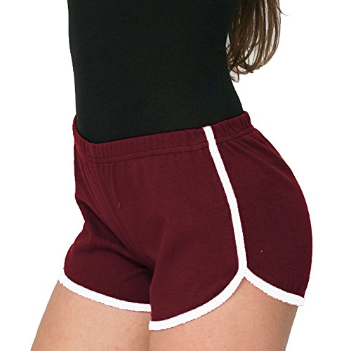 Mangotree Damen Sport Shorts Retro Shorts Aktiv Yoga Shorts Hose mit Farbig Abgesetzen Rändern (EU XL=Tag 3XL (Taille: 68-74cm), Weinrot) (French-terry-hose Damen)