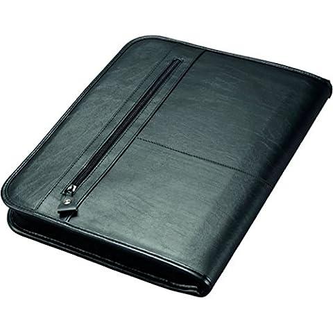 Alassio 30014 - Ringbuchmappe Limone, DIN A4, aus Leder, schwarz, ca. 36 × 28,5 × 4 cm
