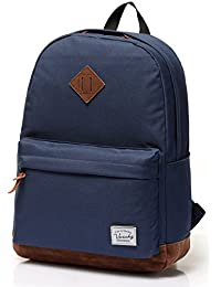 Vaschy Unisex Classic Lightweight Water Resistant Campus School Rucksack Travel Backpack Fits 14-Inch Laptop