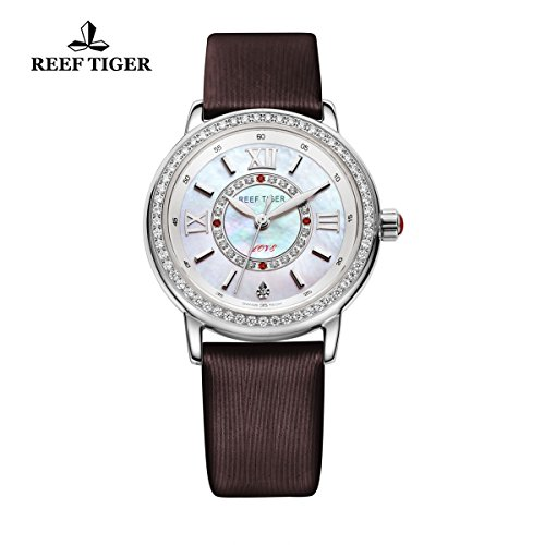 Reef Tiger Fashion elegante orologio da donna in acciaio mop quadrante diamanti in pelle marrone orologi RGA1563