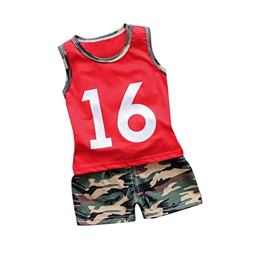 Alwayswin Baby Junge Weste Camouflage Short Kleidung Sets Ärmellos Nummer Muster T-Shirt Mode Cool Shorts Outfits Set Sport-Outfit Sommer Outdoor Strand Babykleidung -