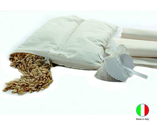 Bio Bear Cuscino da Carrozzina Neonato con Pula di Farro Biologico - Antisoffoco, Antiacaro e Traspirante - 2 Federe in Cotone Grezzo - Made In Italy - 31x21cm
