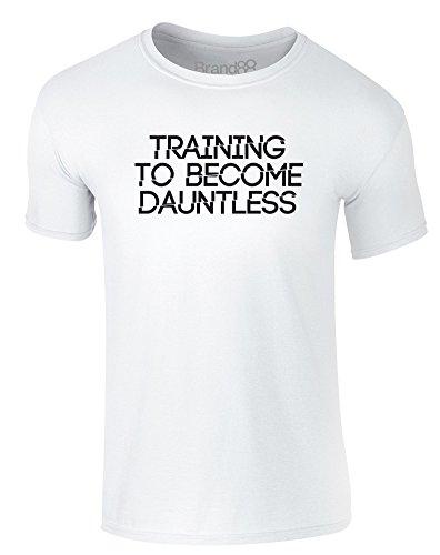 Brand88 - Training to Become Dauntless, Erwachsene Gedrucktes T-Shirt Weiß/Schwarz