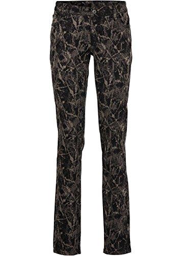 Neu Damen Hose in 36 Schwarz Braun Skinny Allover Print