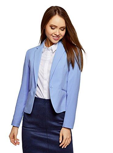 oodji Ultra Damen Taillierter Blazer Basic, Blau, DE 36 / EU 38 / S (Polyester 100% Blazer)