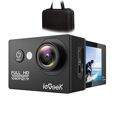 ieGeek Wi-fi Cámara Deportiva Acción 1080P Full HD 2.0 LCD Videocámara Sumergible hasta 30m, 170 ° de ángulo ancho, batería de 1050mAh, 20 accesorios Kit para bicicleta Motos Surf Buceo Natación Esquí