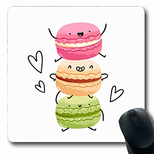 Luancrop Mousepad Oblong Meringue Love Verrückte leckere Macarons Essen Pink Drink Mandel Cafe Candy Bar Design Büro Computer Laptop Notebook Mauspad, Rutschfester Gummi -