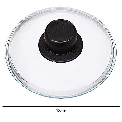 Spares2go Universal-Glasdeckel für Woks, Langzeitkocher und Kasserolen, 18 cm