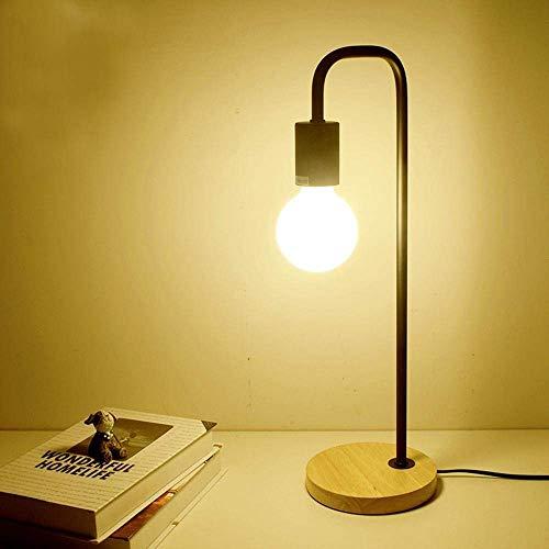 W-LI Kreative Schreibtischlampe Moderne Nordische Industrielle Einfache Led-Schreibtischlampe mit Eisenkörper, Eichenbasisschalter-Schlafgemach, Studie, Dekoration, Schwarz -