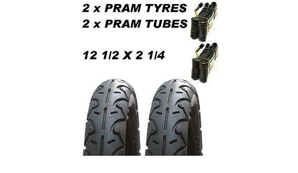 "1 x EASI-PUSH PRAM TYRES for Mothercare Movix  12 1//2/"" x 2 1//4 Bent Valve tube"