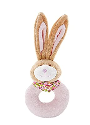 Mousehouse Gifts Plush Rattle Ring Pink Stuffed Animal Bunny Rabbit for Baby Girl