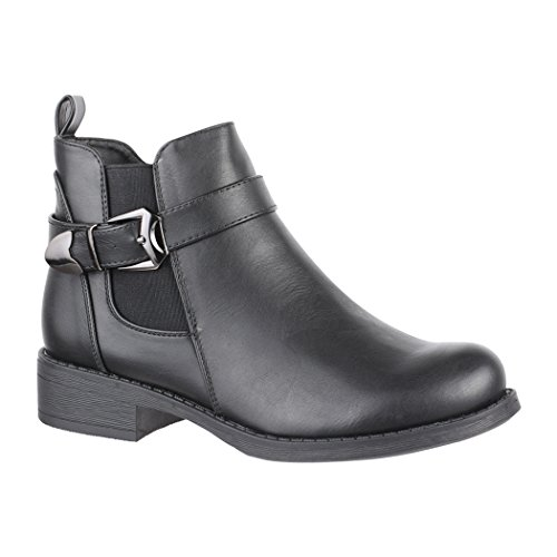 Elara Damen Stiefelette Chelsea Ankle Boots Chunkyrayan 7376-PA Black-37