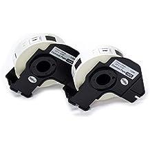 vhbw 2x Rolle Etiketten Aufkleber für Brother P-Touch QL-500BW, QL-550, QL-560, QL-560VP, QL-570, QL-580, QL-580N, QL-650 wie Brother DK-11204.