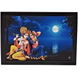 DMT™ Radha Krishna Religious' Painting (Synthetic Without Glass) Radhe Krishna Poster 12x18 Inch With Photo Frame | Wall Photo Frame God |