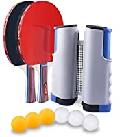 Kaizizi - Red de ping-pong, ajustable, portátil, extraíble, para ping pong, extensible, hasta 170 cm, accesorios deportivos para interior, Gris+azul, 1.7M