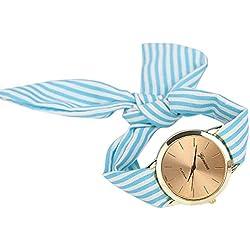 Reloj Lindo Con Lazo A Rayas,ZARLLE Reloj Del Reloj De Pulsera De Dial De Cuarzo De Tela Floral De Rayas De Mujeres De Moda (talla única, Azul)
