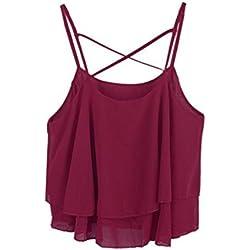 camisa de las mujeres, FEITONG Mujeres de la manera irregular del verano de la correa floral camisa atractiva gasa de la impresión de la camiseta del chaleco (vino tinto)