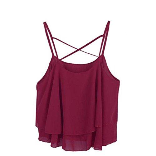 camisa de las mujeres, FEITONG Mujeres de la manera irregular del verano de la correa floral camisa atractiva gasa de la impresión de la camiseta del chaleco (vino
