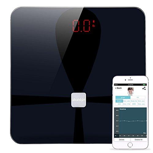 Ikeepi Basculas de Baño Grasa Corporal con Analisis Composición Corporal, Smart Scale con App (Andriod y IOS), Medidas 9 Valores de Compositón Corporal, 180kg/400lb, Negro