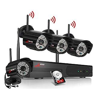 ANRAN 4CH WLAN überwachungskamera System Set, 960P Wireless Videoüberwachungskamera mit 1TB Festplatte,CCTV Funk Kameras für Innen und Au?en Wetterfest, Bewegungserkennung, Alarmfunktion, Nachtsicht