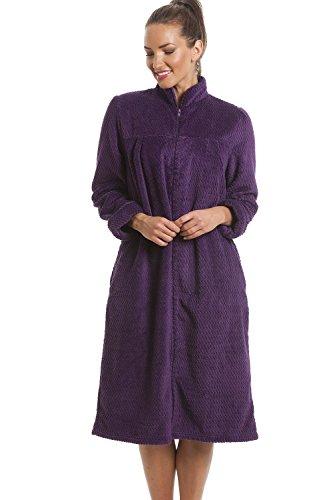 Robe de chambre douce en polaire - fermeture éclair - violet 46/48