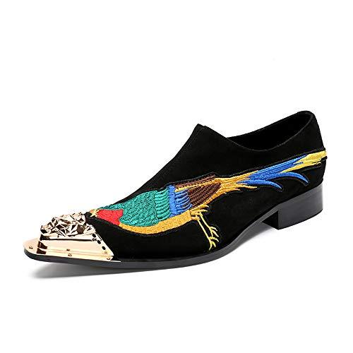 WLGC Lederschuhe Herren Persönlichkeit Business High End Schwarz Stickerei Leder Spitz Metal Toe Denim Schuhe Leder Niedrig, um Casual Fashion Trend zu helfen -