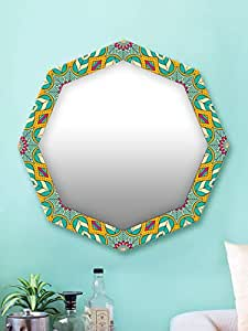 999Store Printed Green and Yellow Floral Octagon Mirror (MDF_17X17 Inch_Multi)