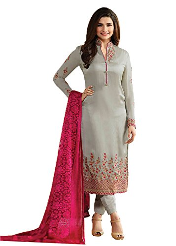 Designer Desk Women's Georgette Semi-stitched Salwar Suit 153F4F05DM_Grey_Free Size