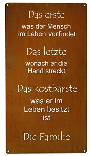 Rostikal | Rost Deko Spruchtafel Familie | Edelrost Metall Gartenschild | Tafel Schild zum hängen | 30 x 15 cm
