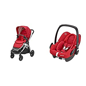 Maxi-Cosi Adorra Comfortable Urban Pushchair from Birth, Full Reclining Seat, 0 Months - 3.5 Years, 0 - 15 kg with Rock Baby Car Seat Group 0+,ISOFIX, i-Size Car Seat, Rearward-Facing, 0-12 m, Nomad Red, 0-13 kg   14