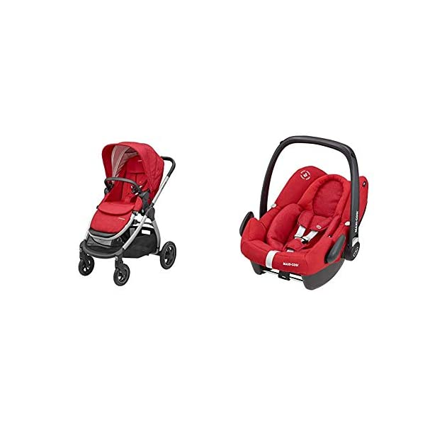 Maxi-Cosi Adorra Comfortable Urban Pushchair from Birth, Full Reclining Seat, 0 Months - 3.5 Years, 0 - 15 kg with Rock Baby Car Seat Group 0+,ISOFIX, i-Size Car Seat, Rearward-Facing, 0-12 m, Nomad Red, 0-13 kg Maxi-Cosi Cocooning seat - the luxury of a large padded seat for baby Lightweight - a light stroller less than 12kg that makes walking effortless Excellent safety rating: complies with the latest i-size (r129) car seat legislation 1