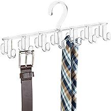 mDesign - Perchero organizador de armario, para corbatas, cinturones, carteras, bijouterie - Claro