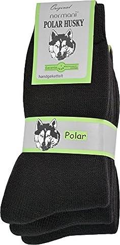 3 Paar Sehr warme POLAR HUSKY® Socken mit Vollplüsch und Schafwolle / Nie wieder kalte Füße! Farbe Vollfrottee / Schwarz Größe 47-50