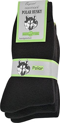Polar Husky® 3 Paar Sehr warme Socken mit Vollplüsch und Schafwolle/Nie Wieder kalte Füße! Farbe Vollfrottee/Schwarz Größe 43/46 -