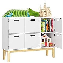 HOMECHO Kommode Kinderzimmer Bücherregal Schrank Spielzimmer Sideboard in weiß mit 6 Fächern Spielzeugschrank Aufbewahrung für Schlafzimmer 100 * 30 * 80cm