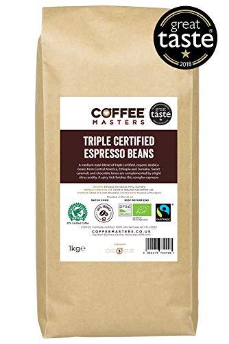 Coffee Masters Dreifach zertifiziert, Bio, Fairtrade, Arabica Kaffeebohnen 1kg - GREAT TASTE AWARD WINNER 2018