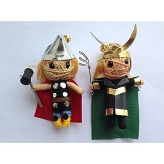 Asgard Set Thor & Loki Super-Villain 2 x String Doll Keychain Charm Ornament 2014